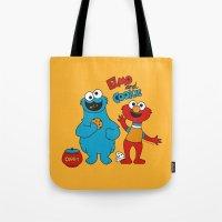 elmo Tote Bags featuring Elmo & Cookie Fan Art by gabriela