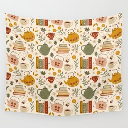 Flowery Books and Tea Wall Tapestry