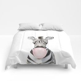 Bubble Gum Zebra Comforters