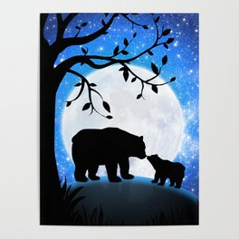 Moon and bears Poster
