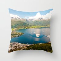 norway Throw Pillows featuring Sandane, Norway by MankiniPhotography