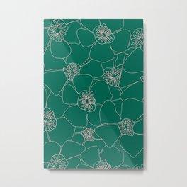 Blooms Everywhere Line Art No 03 Metal Print
