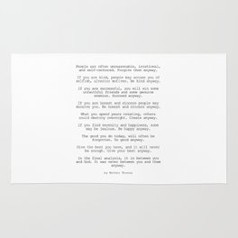 Do It Anyway by Mother Teresa #minimalism #inspirational Rug