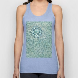 Emerald Green, Navy & Cream Floral & Leaf doodle Unisex Tank Top