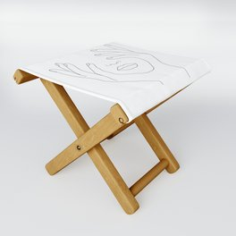 Minimal Line Art Woman with Hands on Face Folding Stool