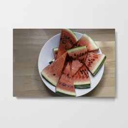 Flat lay of  watermelon on the wooden surface Metal Print