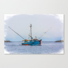 Blue Shrimp Boat on Grey Day Canvas Print