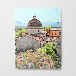 Tortora convent with flowering trees Metal Print