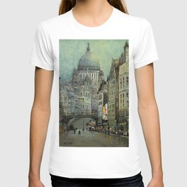 London's St Pauls and Ludgate Hill - Oil Painting, London, England Townscape by Godwin Bennett T-shirt