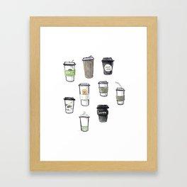 one regular coffee, to go, soy milk, 2 pumps vanilla Framed Art Print