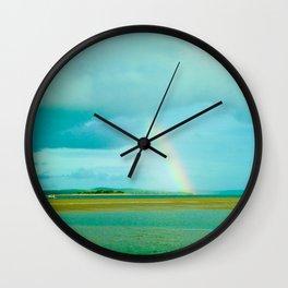 Rainbow over Paradise Island Wall Clock