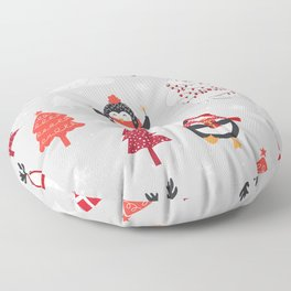 Adorable Christmas Polar Bear and Penguin  Floor Pillow
