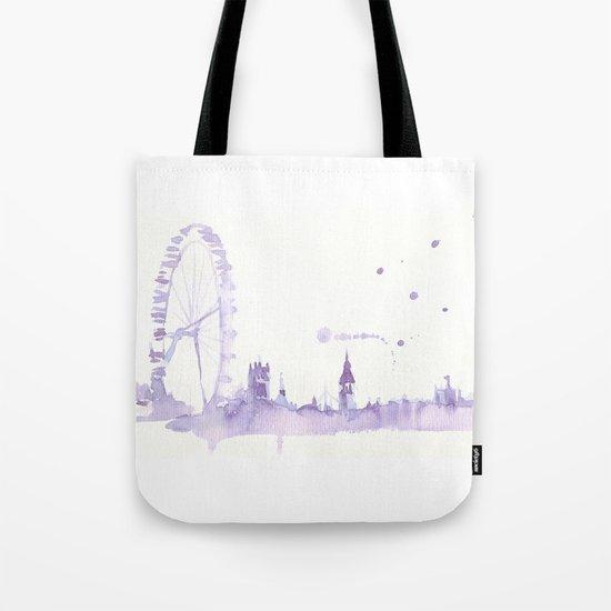Watercolor landscape illustration_London Eye Tote Bag