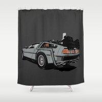 delorean Shower Curtains featuring DeLorean by CranioDsgn