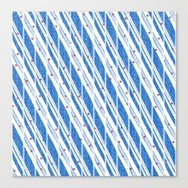 Candy Cane Blue Stripes Holiday Pattern Canvas Print