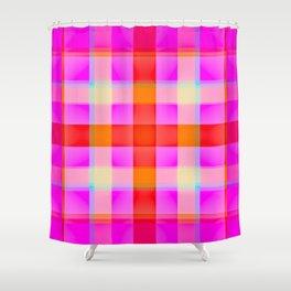 Pink Reddish Plaid Shower Curtain