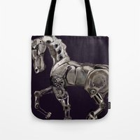 steam punk Tote Bags featuring Steam Punk Horse by tgronberg
