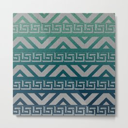 """Blue Aztec Urban Textured Pattern"" Metal Print"