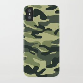 Green Military Camouflage Pattern iPhone Case