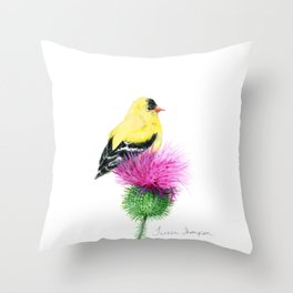 Little Goldfinch by Teresa Thompson Throw Pillow