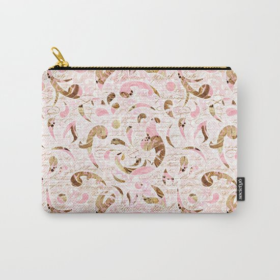 Pink Brown Swirls Carry-All Pouch