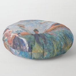 Oarsmen at Chatou Painting by Auguste Renoir Floor Pillow
