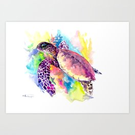 Sea Turtle in Coral Reef, tropical colors sea world purple yellow blue turtle art, turtle illustrati Art Print