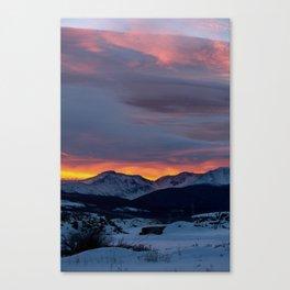 Cold Morning, Fiery Sunrise. Colorado Winter. Canvas Print