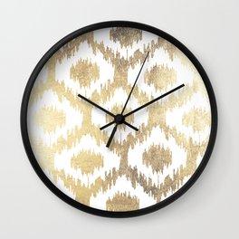 Modern white hand drawn ikat pattern faux gold  Wall Clock