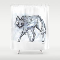 coyote Shower Curtains featuring Coyote Sketch by Kendra Shedenhelm
