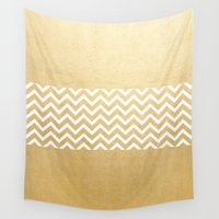 gold foil Wall Tapestries featuring Gold Foil With White Chevron  by Joel M Young