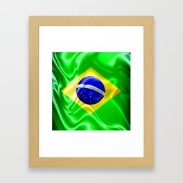 Brazil Flag Waving Silk Fabric Framed Art Print
