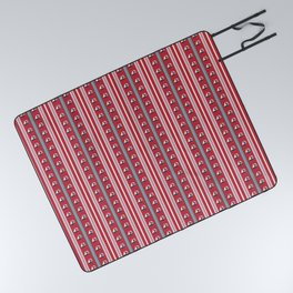 Striped Ahoy Red Picnic Blanket