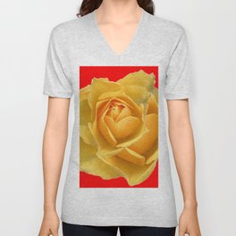YELLOW ROSE OF TEXAS ON  RED Unisex V-Neck