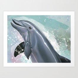 Bottlenose Dolphin In Joy Art Print