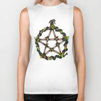 pentagram Biker Tanks featuring PENTAGRAM GARLAND by Dianah B