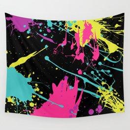 Splatter Paint Black Wall Tapestry
