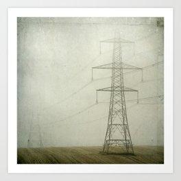Pylons in the Mist Art Print