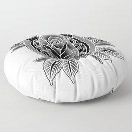 Black & Grey Traditional Rose & Horseshoe Floor Pillow