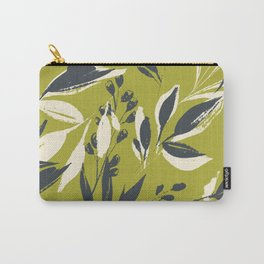 Botanical brush strokes: leafy ink strokes on olive green Carry-All Pouch