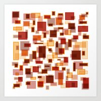 Red Abstract Rectangles Art Print