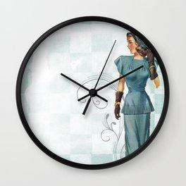 Vintage Woman Neck Gator Blue Dress Vintage Lady Wall Clock