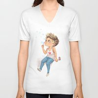 niall V-neck T-shirts featuring Bubble Niall by RockitRocket