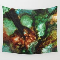 geode Wall Tapestries featuring Geode I, Malachite by Titania Designs