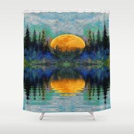 HARVEST MOON WILDERNESS LAKE LANDSCAPE Shower Curtain