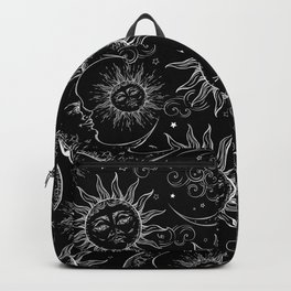 Black Magic Celestial Sun Moon Stars Backpack
