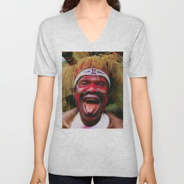 Eating a Betel Nut in Papua New Guinea Unisex V-Neck