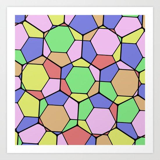 Stained Glass Tortoise Shell - Geometric, pastel, hexagon patterned artwork Art Print