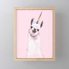 Unicorn Llama in Pink Framed Mini Art Print