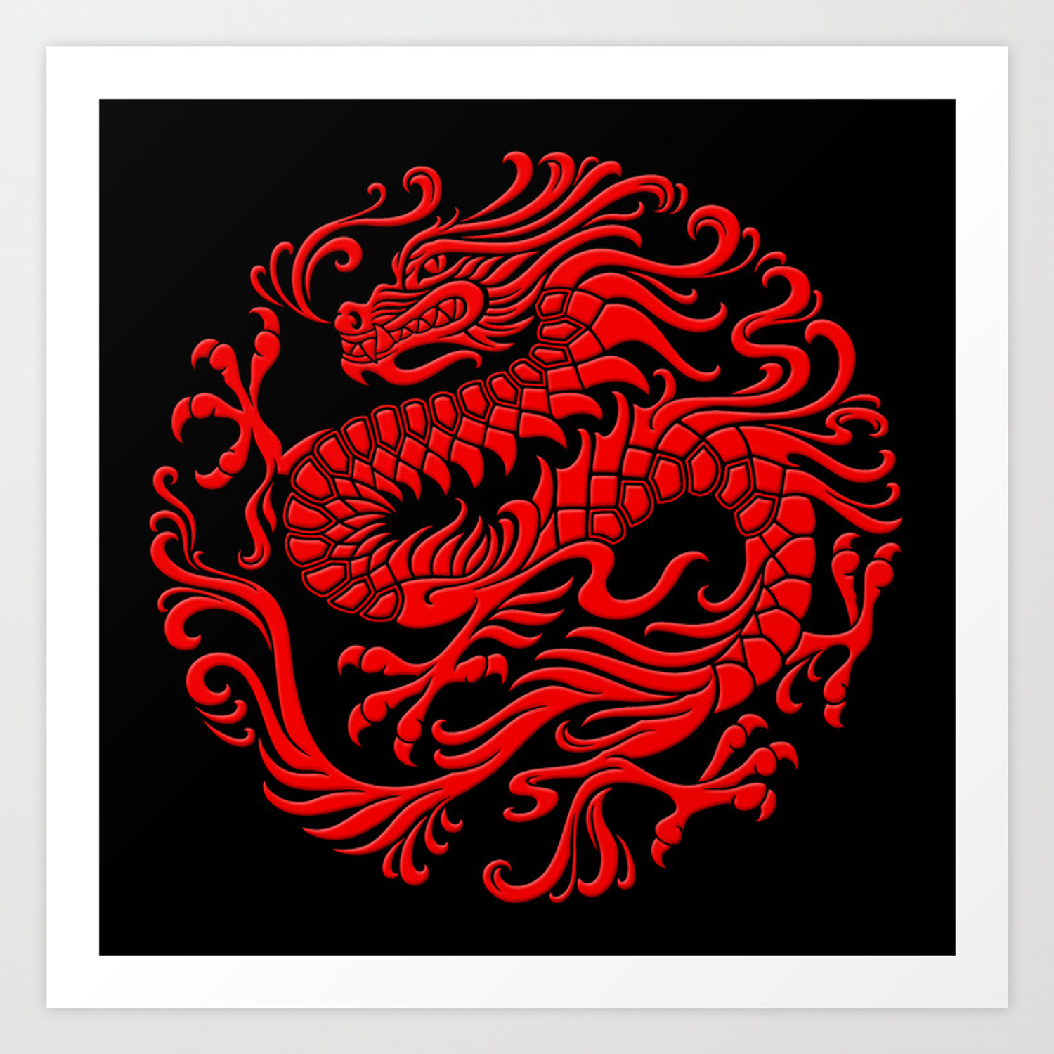 Traditional Red Chinese Dragon Circle Art Print By Jeffbartels